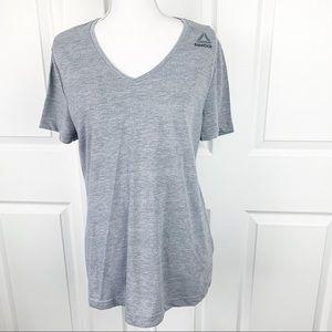 Reebok Gray V Neck Short Sleeved Shirt